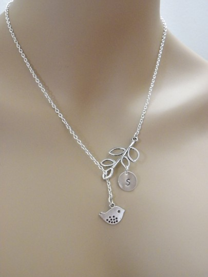 Silver Personalized Bird Initial Bridesmaid Bird Personalized Initial Bird Branch Necklace