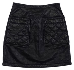 3.1 Phillip Lim Black Leather Quilted Mini Skirt
