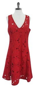 Nanette Lepore short dress Red Floral Lace Sleeveless on Tradesy
