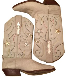Nine West Western Cowboy Leather white Boots
