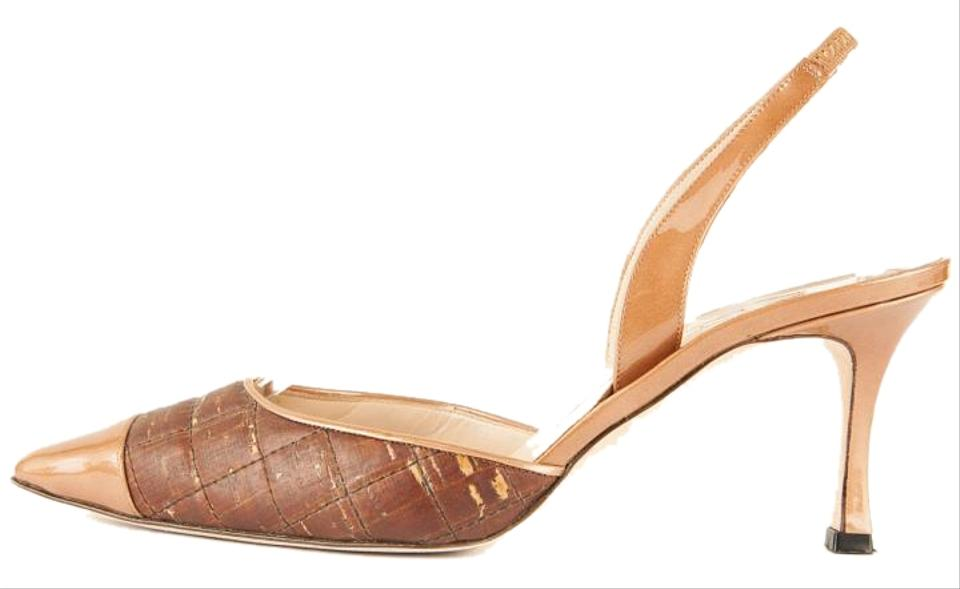 a2994ba78 Manolo Blahnik Brown Cork and Patent Leather Pointed Toe Slingback ...