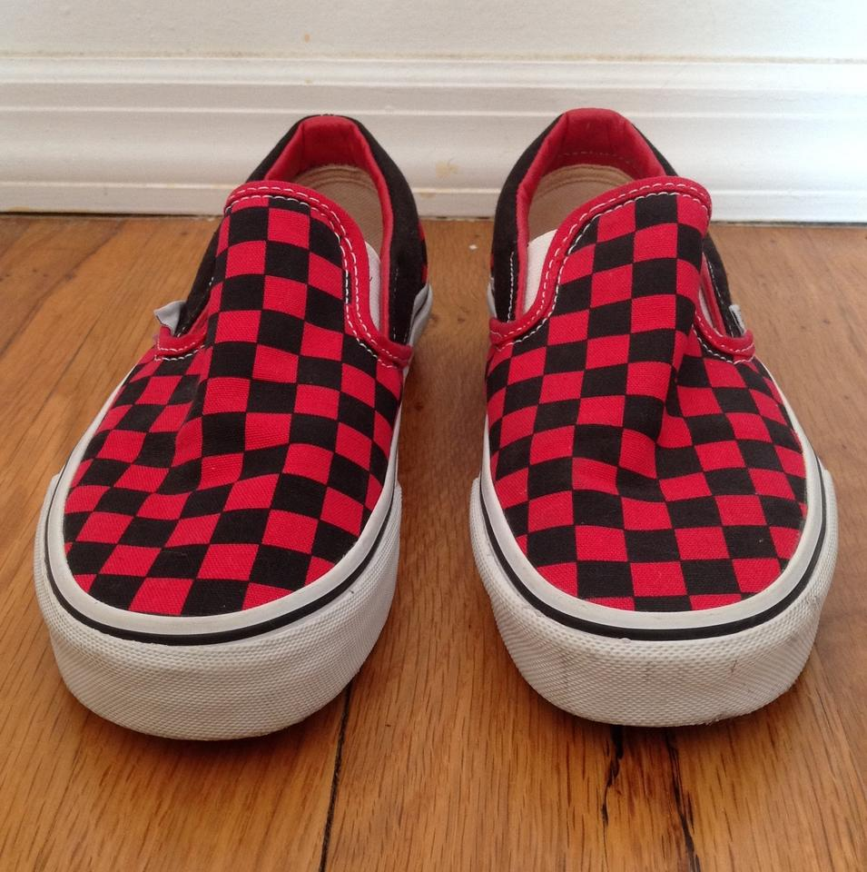 Vans Red/Black Classic Slip-on Checkerboard Sneakers Size US 5.5 ...