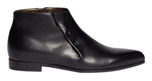 Lanvin Staple Zipper Leather Ankle Gunmetal Black Boots