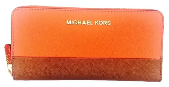 Michael Kors Michael Khors Orange And Brown Continental Zip Around Wallet New