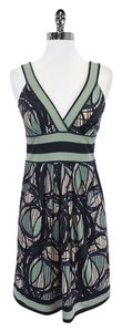 BCBGMAXAZRIA short dress Teal Beige Multi Print on Tradesy