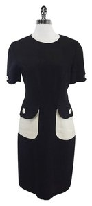 Bill Blass short dress Black Linen Cream Accent Pocket on Tradesy