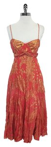 Diane von Furstenberg Coral Gold Silk Flared Dress