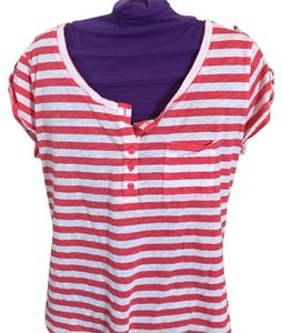 New York & Company T Shirt Salmon stripes