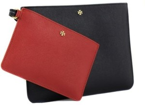 Tory Burch Burchyork Duo Leather Pouch Navy Blue / Red Clutch