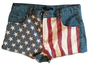 Forever 21 Cut Off Shorts American Flag on front; medium wash jean on back.