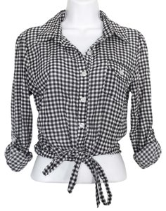 Xhilaration Plaid Long Sleeve Tie Black And White Country Cute Chic Trendy Stylish Date Night Affordable Hip Hipster Small Vintage Button Down Shirt