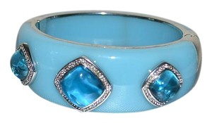 Miriam Salat MIRIAM SALAT Rhodium Bangle Bracelet Blue Resin and Blue Sea Nuggets