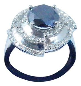 Other ATTRACTIVE OVAL SHAPE ROUND BLACK DIAMOND RING 1.74 CT. 0.70 (TOTAL) DIAMOND SURROUNDING MAIN STONE IN ANTIQUE/VINTAGE SETTING 14KT WHITE GOLD