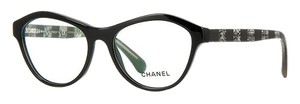 Chanel NEW Chanel 3291 Black Cat Eye Lace Striped Logo Eyeglasses Frames AUTHENTIC