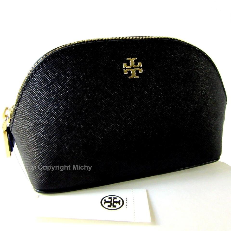 Tory Burch York Saffiano Leather Small Makeup Bag Cosmetic Case