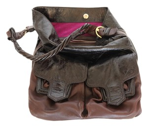 Sergio Rossi Patent Leather Pockets Satchel in Two-tone Brown
