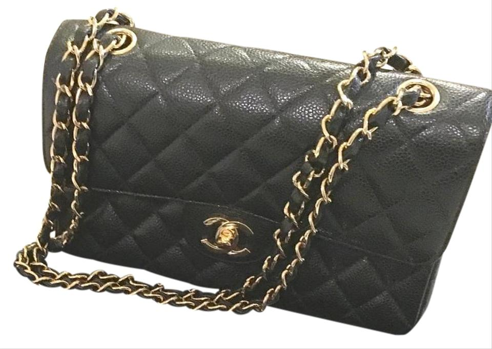 477601834ffec3 Chanel Flap Quilted Small Classic Black Caviar Leather Shoulder Bag ...