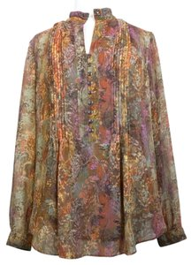 Coldwater Creek Floral Pleated Top Brown Print