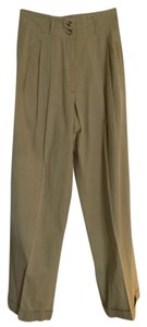 Jil Sander Pleated Cuffed High Waisted Trouser Pants Tan