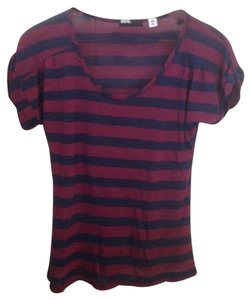 BDG Top Maroon Red & Navy Blue Stripes