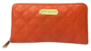 Marc Jacobs Marc Jacobs Quilted Gold Polished Baroque Sister Wallet Clutch * Orange ! RARE!
