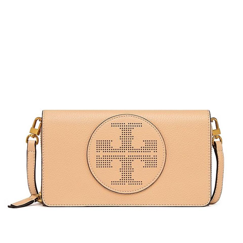 1f3d84d9fb66 Tory Burch Perforated Logo Flat Wallet Sand Dune Leather Cross Body ...