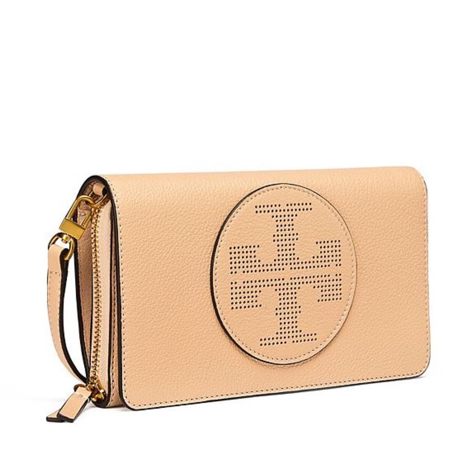 f7e703f5bdc0 Tory Burch Perforated Logo Flat Wallet Sand Dune Leather Cross Body ...