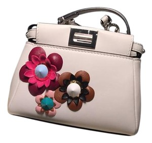 Fendi Peekaboo Micro Leather Satchel Cross Body Bag