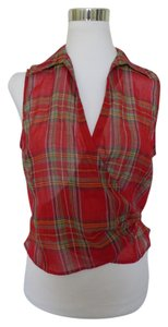 Ralph Lauren Plaid And Check Top Red