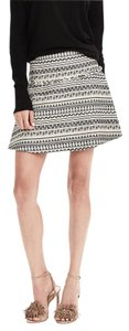 Banana Republic Tweed Geo Flare Mini Mini Skirt black and white
