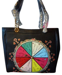 Betsey Johnson Working Spinner Chain Straps Tote in Black