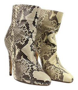 Jimmy Choo Python Snake Water Snake Ivory Brown Boots