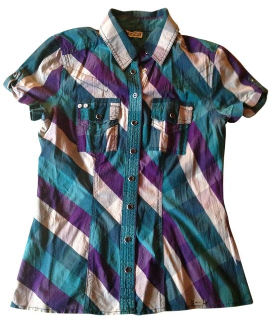 Street One Button Down Shirt purple, grey, turquoise