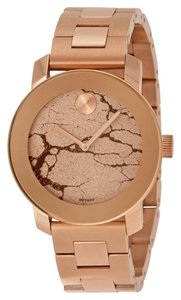 Movado Rose Gold Stainless Steel with Rose Gold Glitter Crackle Dial Ladies Dress Watch