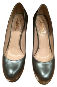 Yves Saint Laurent Ysl Leather charcoal Pumps