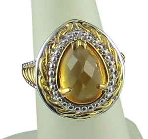 Victoria Wieck Victoria Wieck 2.30ct Citrine Checkerboard-Cut 2-Tone Sterling Silver and Vermeil Ring - Size 5