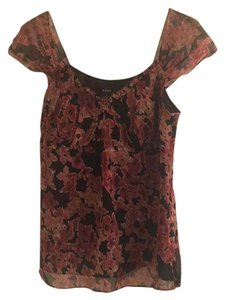 Alfani Top Black with pink flowers