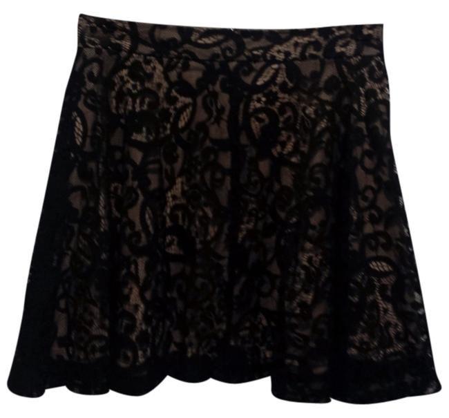 CIEL A-line Mini Skirt Black lace overlay with beige lining