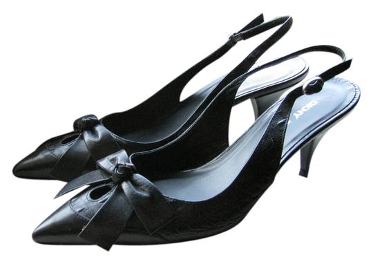 DKNY Kitten Slingback Leather Black Pumps