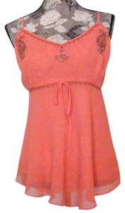 Mixit Dressy Embroidered Embellished Size Xl Top Peach
