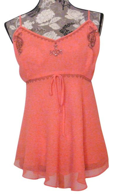Item - Peach XL L W Camisole W/Embroidered Sequin Trim Hi-l Tank Top/Cami Size 16 (XL, Plus 0x)