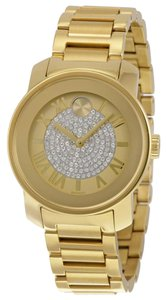 Movado Gold Ion Plated Stainless Steel Crystal Pave Dial Ladies Dress Designer Watch