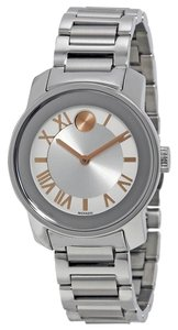 Movado Silver Tone Stainless Steel Rose Gold Markers Ladies Designer Watch