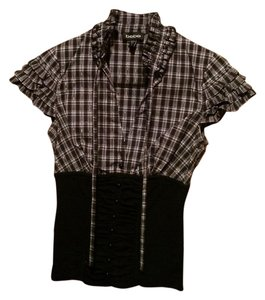 bebe Button Down Shirt Black, Green, Purple and Black and White