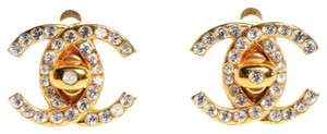 Chanel Chanel Earrings CC Logo Gold Crystal Turnlock Ear Clips Large Med