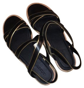 J.Crew Black with Gold outline Sandals