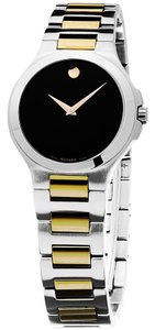 Movado Black Dial Silver and Gold Stainless Steel Designer Ladies Dress Watch