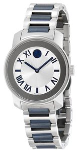 Movado Navy Blue and Silver tone Stainless Steel Ladies Designer Watch