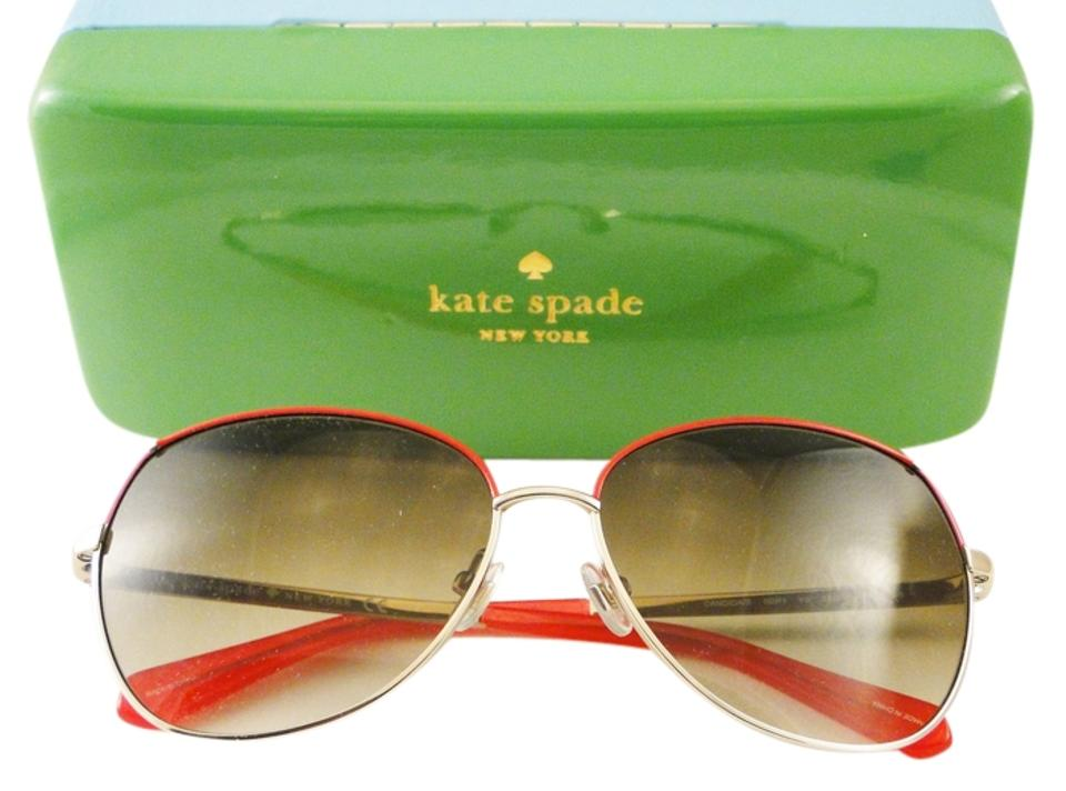 03d184ea9937 Kate Spade New Kate Spade CANDIDA SUNGLASSES with Red, Gold & Pink Frames  and Gray ...