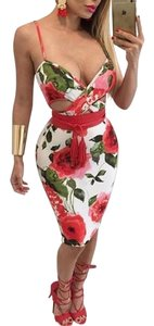 L'ATISTE Midi Floral Party Bodycon Strappy Dress